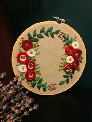 Broderie florale de Noël